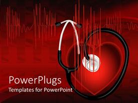 PowerPlugs: PowerPoint template with heart with stethoscope and EKG, medicine, cardiology, medical, red and black background