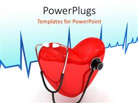 PowerPlugs: PowerPoint template with a heart with a stethoscope and heartbeat line in background