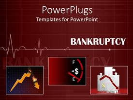 PowerPoint template displaying a heartbeat line depicting the bankruptcy
