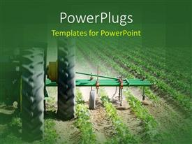 PowerPlugs: PowerPoint template with heavy agricultural machinery working on farmland with green crops planted