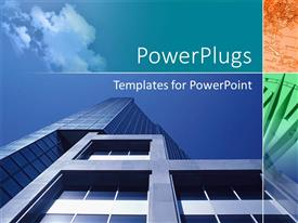 PowerPlugs: PowerPoint template with the heights of the buildings with the sky, map and the clock