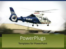 PowerPlugs: PowerPoint template with a helicopter taking off with green background and a house