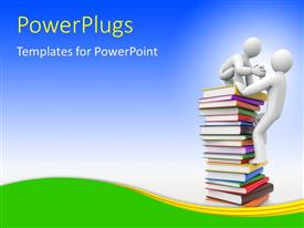 PowerPlugs: PowerPoint template with two 3D characters climbing up a stack of books