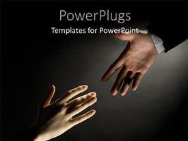 PowerPlugs: PowerPoint template with helping hand stretched out to other hand over black background