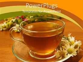 PowerPlugs: PowerPoint template with herbal tea in a transparent cup with flowers on the side, peaceful background