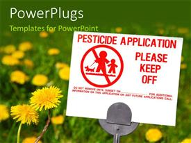 PowerPlugs: PowerPoint template with herbicide warning sign on a lawn with flowers and greenery