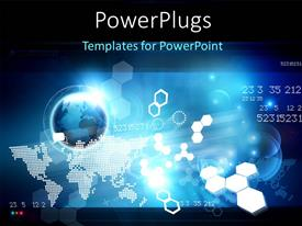 PowerPlugs: PowerPoint template with hi-tech digital background with globe, world map and shapes