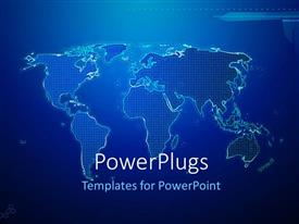 PowerPlugs: PowerPoint template with hi-tech world map placed on dark shades of blue
