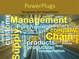 PowerPoint template displaying hi tech background with different management and business keywords