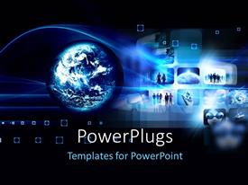 PowerPlugs: PowerPoint template with hi tech futuristic concept with globe and collage of images