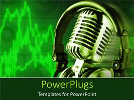 PowerPlugs: PowerPoint template with hi tech microphone with a head set on a green background