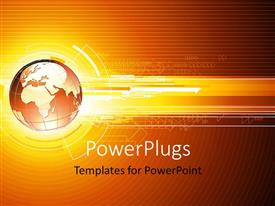 PowerPoint template displaying hi tech theme with globe and network arrows over colored background