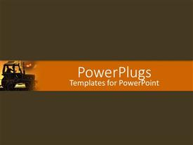 PowerPlugs: PowerPoint template with high moving truck on a solid deep brown background