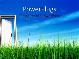 PowerPlugs: PowerPoint template with a lot of grass with a door