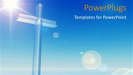 PowerPoint template displaying a bluish background with a cross