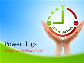 PowerPlugs: PowerPoint template with human hand holds clock symbol high over blue background