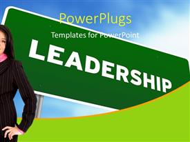 PowerPlugs: PowerPoint template with young business woman stands with leadership signpost in background