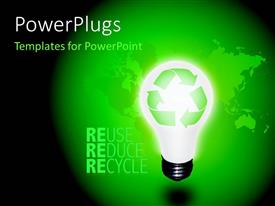 PowerPlugs: PowerPoint template with high resolution recycle idea bulb with keywords Reuse, Reduce and Recycle and world map