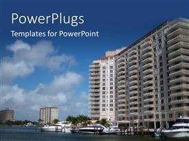 PowerPlugs: PowerPoint template with high rise of a sky scrapper in front of a lagoon