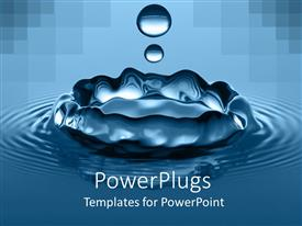 PowerPlugs: PowerPoint template with high speed close up of water drop splash and ripples on calm waters