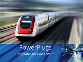 PowerPoint template displaying high speed red and silver train with blurred background