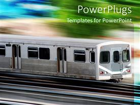 PowerPlugs: PowerPoint template with a high speed train with greenery in the background