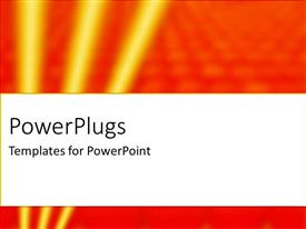 PowerPlugs: PowerPoint template with high tech theme with three glowing yellow stripes on bubbled orange background
