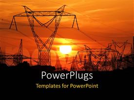 PowerPoint template displaying high voltage electric poles with sunset