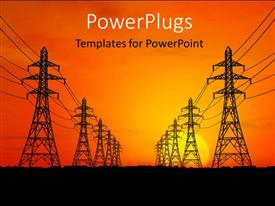 PowerPlugs: PowerPoint template with high voltage electric power lines with sunrise