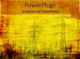 PowerPoint template displaying high voltage electricity poles on vintage looking yellow background