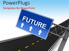 PowerPlugs: PowerPoint template with highway with blue road sign showing direction to the FUTURE