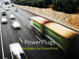 PowerPoint template displaying highway with cars in motion on multiple lanes