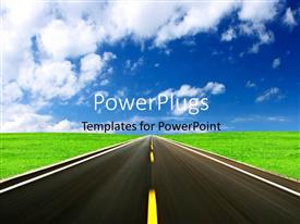 PowerPlugs: PowerPoint template with highway in green field with blue cloudy sky overhead