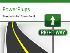 PowerPlugs: PowerPoint template with highway with green road sign showing direction to RIGHT WAY