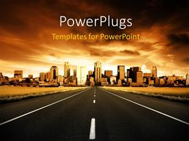 PowerPlugs: PowerPoint template with a highway heading towards buildings and polluted city