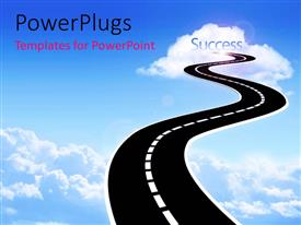 PowerPoint template displaying highway leading into the sky to cloud with the word Success