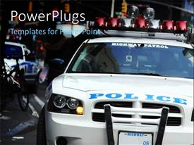 PowerPoint template displaying highway Patrol cruiser with New York City