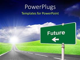 PowerPlugs: PowerPoint template with highway with road sign pointing to Future