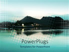 PowerPoint template displaying hill and water scenery on evening time after sunset