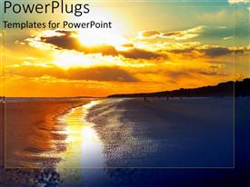PowerPlugs: PowerPoint template with hilton head beach with beautiful sunset and reflection on water