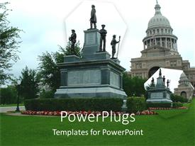 PowerPlugs: PowerPoint template with a historic building and a historic sign in front of it