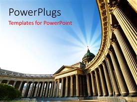 PowerPlugs: PowerPoint template with a historical building with a bluish background