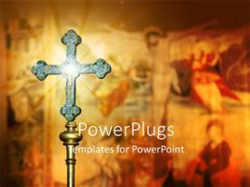 PowerPoint template displaying a hly cross with paintings in background