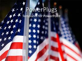 PowerPlugs: PowerPoint template with hoisted American flags lines up for military veterans remembrance