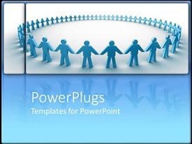 PowerPlugs: PowerPoint template with holding hands in a circle together collaboration blue background