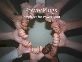 PowerPlugs: PowerPoint template with holding hands together embracing diversity black and white globalization together