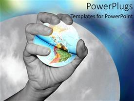 PowerPlugs: PowerPoint template with holding world in hand black and white continents grabbing collaboration