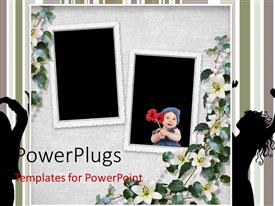 PowerPoint template displaying holiday card with silhouette of people dancing with flowers