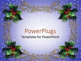 PowerPlugs: PowerPoint template with holiday decorations mistletoe design christmas tree decor
