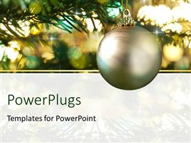 PowerPlugs: PowerPoint template with holiday depiction with beautiful ornaments decorating Christmas tree